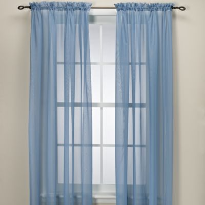 elegance sheer 84 inch window curtain panel in smoke blue