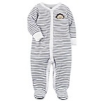 carter's® Size 3M Snap-Up Stripe Monkey Footie in White