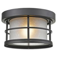 Filament Design Kerry 1-Light Flush Mount Outdoor Light in Black with Matte Glass Shades