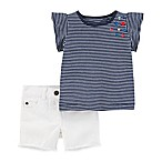 carter's® Size 9M 2-Piece Tunic Shirt and Short Set in Navy