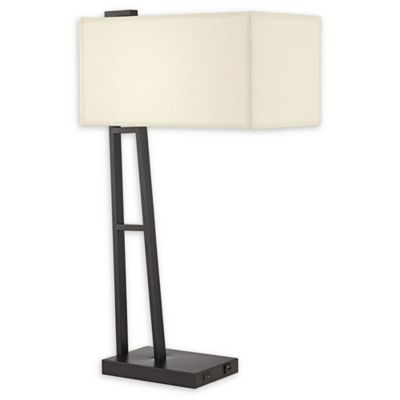 Pacific CoastR Metal Table Lamp With USB In Black
