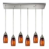 Elk Lighting Milan 6-Light Pendant Light in Satin Nickel/Espresso