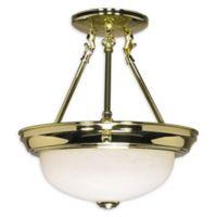 Filament Design Marbled 2-Light 11.38-Inch Semi-Flush Mount Light in Polished Brass