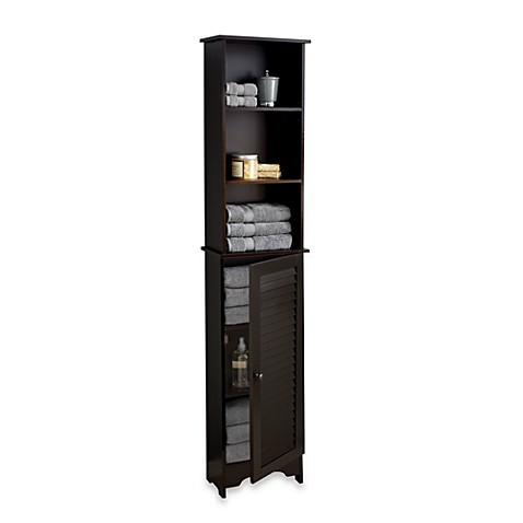 tall bathroom floor cabinet buy louvre bath cabinet in espresso from bed bath 26973