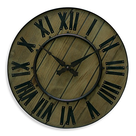Rustic style wood and wrought iron 18quot wall clock bed for Wrought iron wall clock