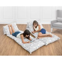 Sweet Jojo Designs Damask Floor Pillow Lounger Cover in Grey and White