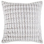 Make-Your-Own-Pillow Checkers 20-Inch Faux Fur Square Throw Pillow Cover in Taupe