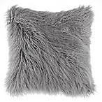 Flokati Faux Fur 18-Inch Square Throw Pillow in Silver