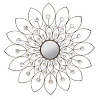 Stratton Home Décor 34-Inch Round Decorative Flower Wall Mirror in Bronze