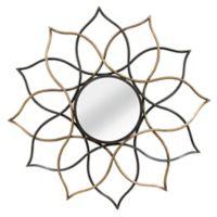 Stratton Home Decor 33-Inch Round Sia Wall Mirror in Black/Gold