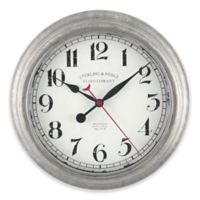 Sterling & Noble Galvanized 10-Inch Wall Clock in Silver