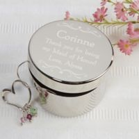 Bridesmaid Engraved Keepsake Box in Silver