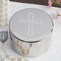 Full of Grace Rosary Keepsake Box in Silver