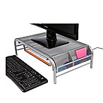 Mind Reader Metal Mesh Monitor Stand with Drawer in Silver