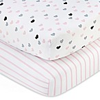 Little Love by NoJo® Hugs and Kisses Fitted Crib Sheets (Set of 2)