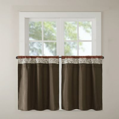 Madison Park Serene Embroidered 36 Inch Rod Pocket Kitchen Window Tiers Pair In Spice
