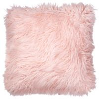 Faux Fur Floor Throw Pillow in Blush