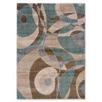 """Linon Home Milan Collection 22"""" x 34"""" Area Rug in Beige/Turquoise"""