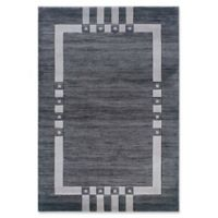 Linon Home Milan Geometric 1'10 x 2'10 Accent Rug in Charcoal Black