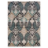 Linon Home Milan Damask 1'10 x 2'10 Accent Rug in Black/Turquoise