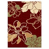 Linon Home Milan Blossoms 1'10 x 2'10 Accent Rug in Red