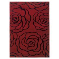 Linon Home Milan Rose 1'10 x 2'10 Accent Rug in Garnet/Black