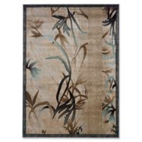 Linon Home Milan Leaves 1'10 x 2'10 Accent Rug in Beige
