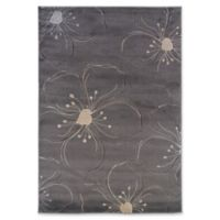 Linon Home Milan Floral 1'10 x 2'10 Accent Rug in Grey/Ivory