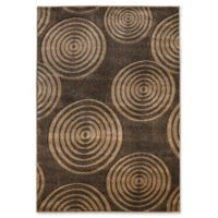 Linon Home Milan Circles 1'10 x 2'10 Accent Rug in Brown/Beige