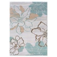 Linon Home Milan Lilies 1'10 x 2'10 Accent Rug in Ivory/Turquoise