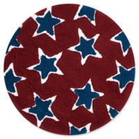 Loloi Rugs Lola 3' Round Shag Area Rug in Red/Navy