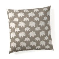 Glenna Jean Elephant Herd Throw Pillow in Stone