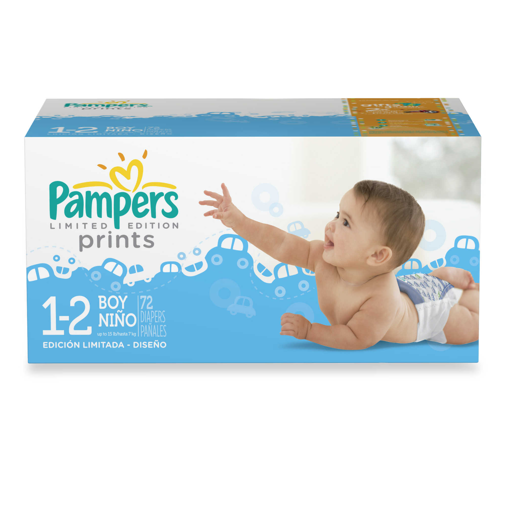 Pampers® 72-Count Size 1/2 Limited Edition Print Diapers for Boys ...