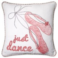 Just Dance Square Throw Pillow in Pink