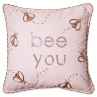 Bee You Square Throw Pillow in Pink