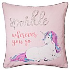 Unicorn Sparkle Square Throw Pillow in Pink