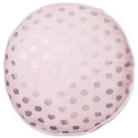 Foil Polka Dot Round Floor Throw Pillow in Pink