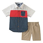 Nautica® Size 12M 2-Piece Woven Shirt and Twill Short Set