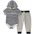 Nautica® Size 6-9M 2-Piece Stripe Hooded Henley Bodysuit and Jogger Pant Set in Grey/White