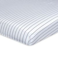 Just Born® Dream Stripe Print Fitted Crib Sheet in Navy/Grey
