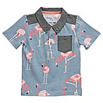 Sovereign Code™ Size 18M Chambray Flamingo Polo Shirt in Blue/Pink