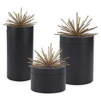 Sterling Industries Quark 3-Piece Jar Set in Black/Gold