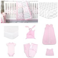 The PeanutShell™ Ellie Pretty Patch 11-Piece Sleep Essentials Crib Set in Pink/Grey