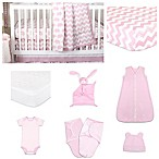 The Peanut Shell® Ellie Chevron 11-Piece Sleep Essentials Crib Set in Pink