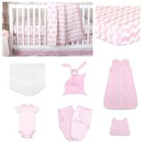The PeanutShell™ Ellie Chevron 11-Piece Sleep Essentials Crib Set in Pink