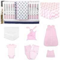 The Peanutshell™ Sail Away 11-Piece Sleep Essentials Crib Set in Pink/Navy