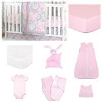 The PeanutShell™ Damask Delight Patchwork 11-Piece Sleep Essentials Crib Set in Pink/Grey