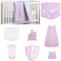 The PeanutShell™ Hello Deer 11-Piece Sleep Essentials Crib Set in Purple/Grey