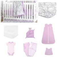 The PeanutShell™ Damsel Damask 11-Piece Sleep Essentials Crib Set in Purple/Grey