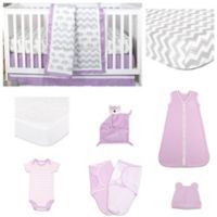The Peanutshell™ Ellie Patch 11-Piece Sleep Essentials Crib Set in Purple/Grey